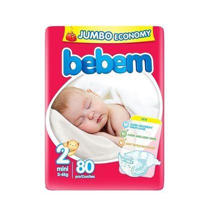 Picture of Bebem Jumbo Mini Belt Diaper 3-6 Kg - 80 Pcs