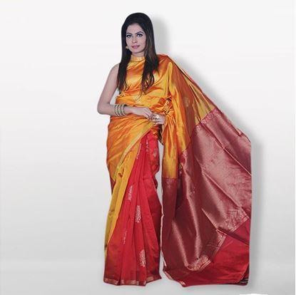 Picture of  YeRaka fashion Ye llow and Red Silk Katan Sharee For Women