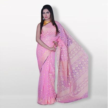 Picture of  Raka fashion Pink Silk Katan Sharee For Women