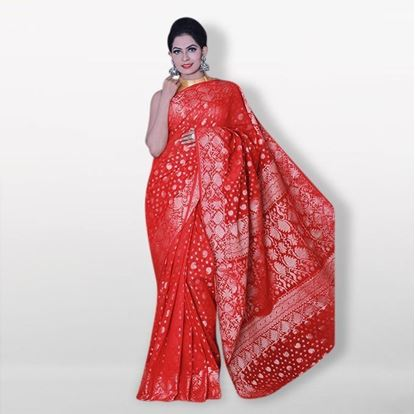 Picture of  Raka fashionRed Silk Katan Sharee