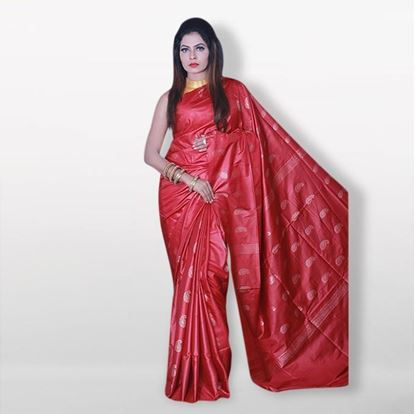 Picture of  Raka fashion Red Silk Katan Sharee
