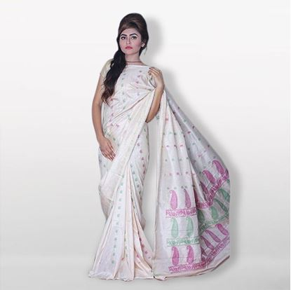 Picture of   Raka fashion White Silk Katan Sharee