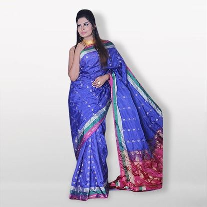 Picture of  Raka fashion Red and Blue Silk Katan Sharee