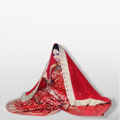 Picture of   Raka fashion   Red and White Silk Sharee