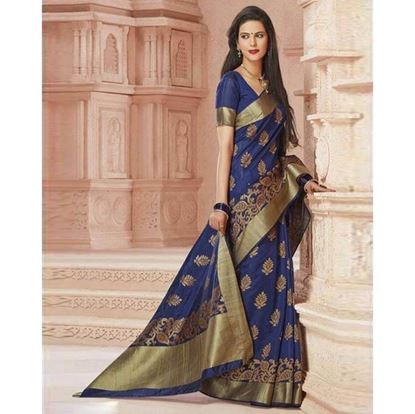 Picture of   Raka Fashion Navy Blue And Golden Katan Saree