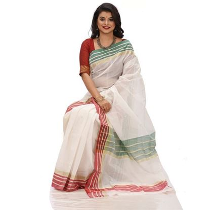 Picture of  White Tant Boutiques Block Printed Saree