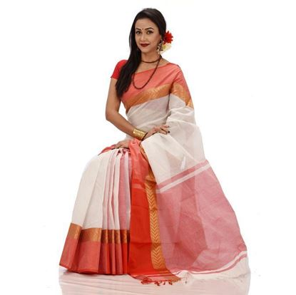 Picture of  Light Red and White Cotton Casual Saree
