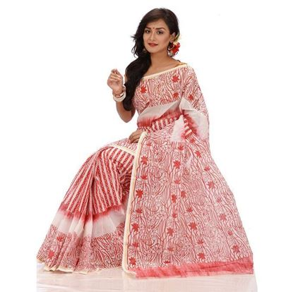 Picture of Red and White Tant Boutiques Block Printed Saree