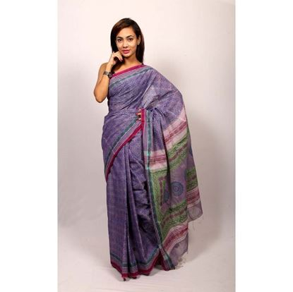 Picture of  Purple Cotton Saree