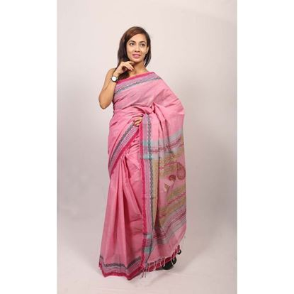 Picture of  Light Pink Cotton Saree
