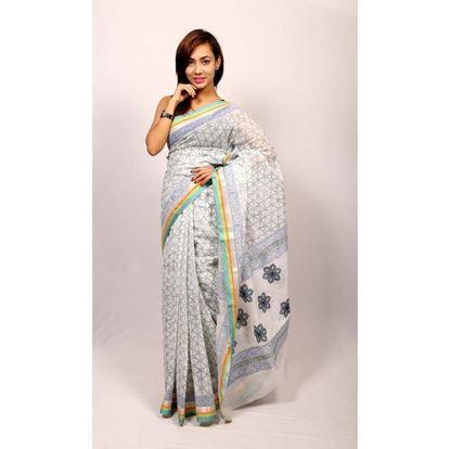 Picture of  White Cotton Saree