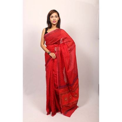 Picture of Red Cotton Saree