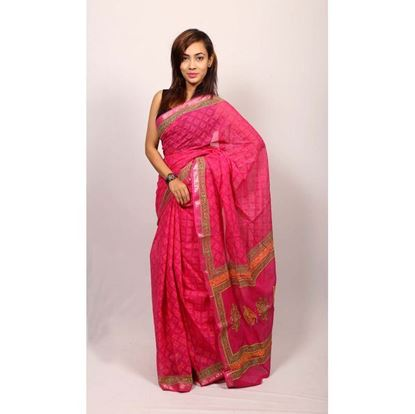 Picture of  Pink Cotton Saree