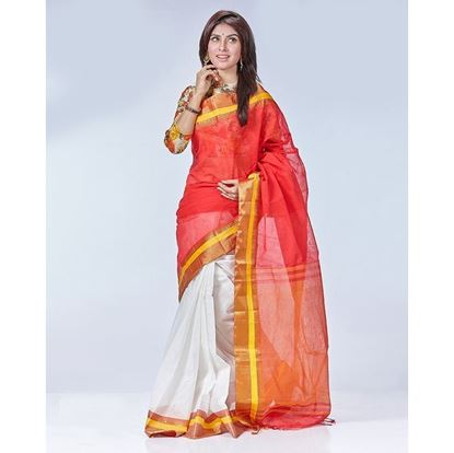 Picture of Tat Cotton Casual Sharee - Red and white