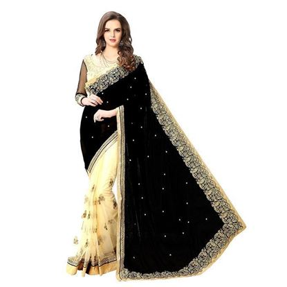 Picture of  Indian Black and Cream Georgette Saree