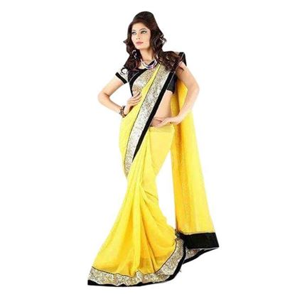 Picture of  Yellow Georgette Saree