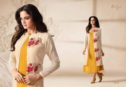 Picture of LT Original Indian Kurti Offwhite And Yellow