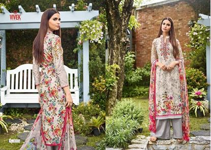 Picture of Vivek Fashion Brand Original Indian Dress Grey And Pink