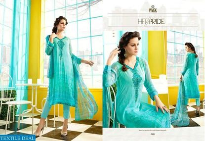 Picture of Vivek Fashion Brand Original Indian Dress Jewel Turquoise