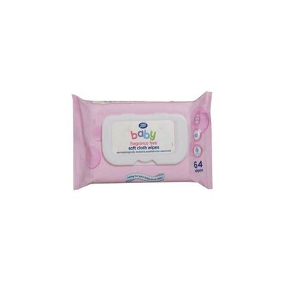 Picture of Boots Baby Fragrance Free Soft Cloth Wipes 64 wipes    s