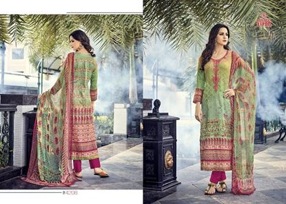 Picture of Vivek Fashion Brand Original Indian Dress Light Green And Pink