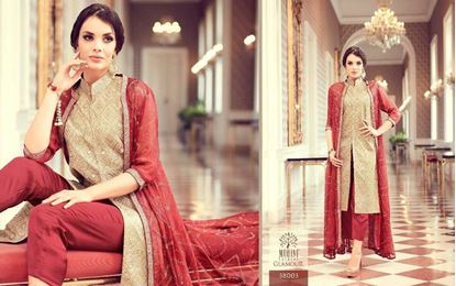 Picture of Mohini Glamour Original Indian Dress Red And Cream