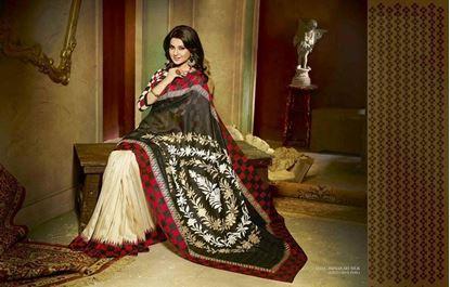 Picture of Original Indian saree  Bhagolpuri Silk Black And Offwhite
