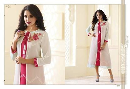 Picture of LT Fabric Original Indian kurti white And Pink