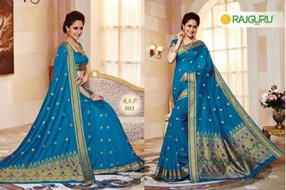Picture of Rajguru Light Blue Katan Saree