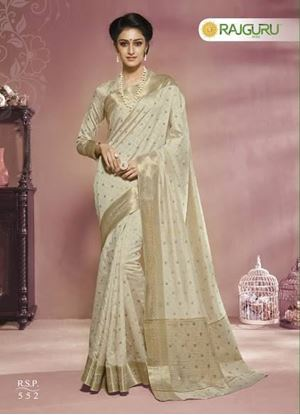 Picture of Original INDIAN Pure Silk Kataan Saree Off White