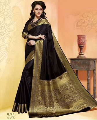 Picture of Original INDIAN Pure Silk Kataan Saree Black