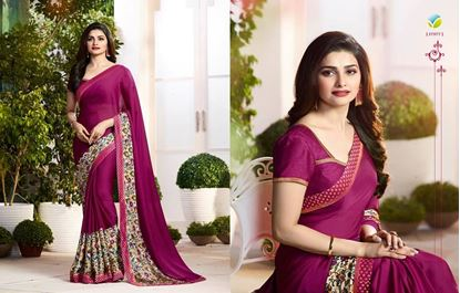 Picture of Original Indian Pure Satin Georgette Saree with Embroidered Lace Strip Border with Printed Designed Work on Body