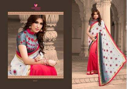 Picture of Original INDIAN  Heavy Embroidery Work on Pure Soft Georgette Saree