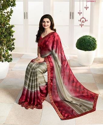 Picture of Original Indian Pure Satin Georgette Saree Red & Grey