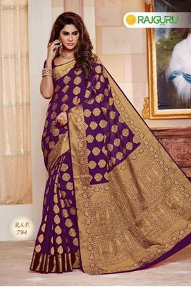 Picture of Original INDIAN Pure Raw-Silk Pallu Kataan Saree
