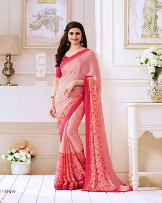 Picture of Original Indian Pure Satin Georgette Saree Pink