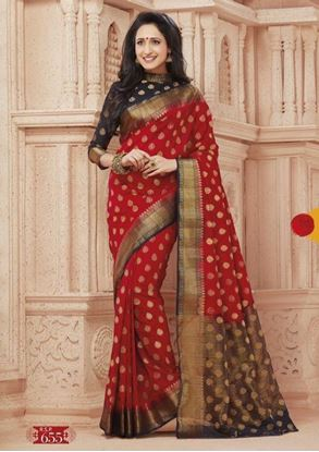 Picture of Original INDIAN Pure SILK Kataan Saree Black &Red