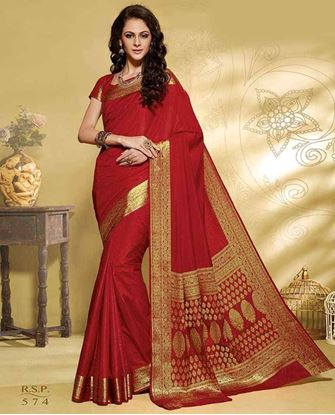 Picture of Original INDIAN Pure SILK Kataan Red