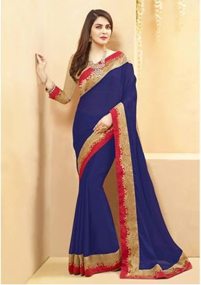 Picture of Original Indian Georgette Royal Blue
