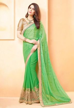 Picture of Original Indian  poly georgette Green Golden