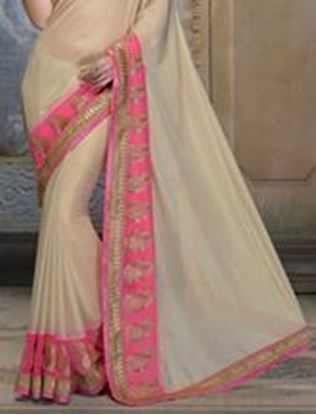 Picture of Beige Faux Chanderi Saree