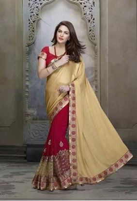 Picture of ORIGINAL INDIAN  GEORGETTE CREAM & RED