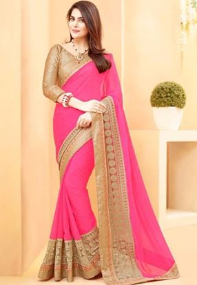 Picture of   ORIGINAL INDIAN GEORGETT PINK & GOLDEN BEIGE