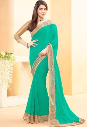 Picture of Original Indian Georgette Arctic green