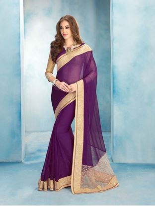 Picture of Original Indian georgette Dark Purple Saree