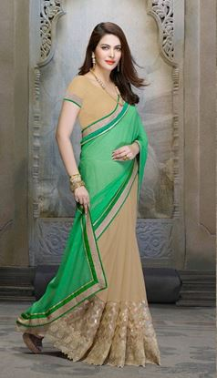 Picture of Original Indian georgette Green and Beige