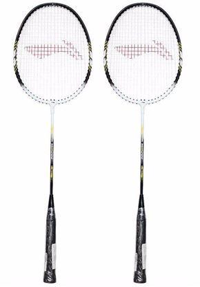 Picture of Li-Ning Smash XP 808 Strung Badminton Racquet (Set of 2) Black/White