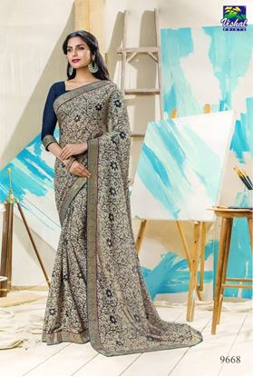 Picture of ORIGINAL INDIANPURE GEORGETTE CREAM & BLUE