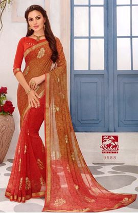 Picture of ORIGINAL INDIAN PURE GEORGETTE ORANGE