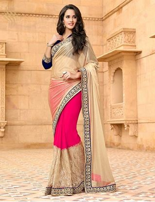 Picture of ORIGINAL INDIAN  Georgette Pink &,Beige